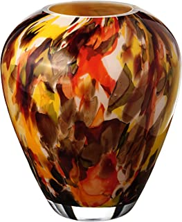 Handmade Barrel Glass Vase - Abstract Autumn Decor - Brown and Orange - Mouth Blown Lead Free Glass - Decorative Vase Centerpiece - 8.6 inch (22 cm)