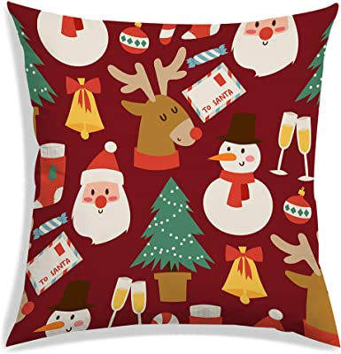 RADANYA Christmas Digitally Printed Satin Cushion Cover with Filler Maroon Square Bedding Throw Pillow Case 12X12 Inch