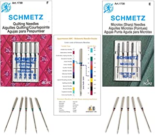 Piecing and Quilting Machine Needles Combination Pack, (3x75/11, 2x90/14) Quilting and (5x80/12) Microtex Needles, Fits: B...