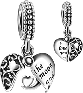 ICYROSE Solid 925 Sterling Silver Dangling Iridescent Crystal Ball Charm Bead