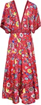 R.Vivimos Women Summer Print Deep V Neck Cotton Beach Long Dresses