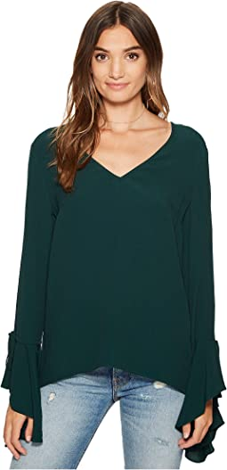 1.STATE - Long Sleeve V-Neck Cascade Sleeve Blouse