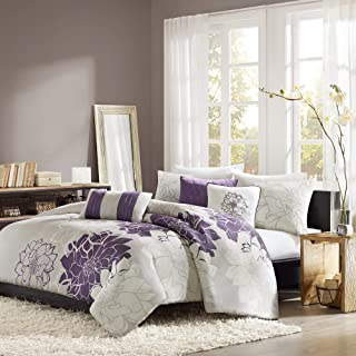 Madison Park Lola Duvet Cover King/Cal King Size - Purple, Grey , Floral, Flowers Duvet Cover Set – 6 Piece – Cotton Sateen, Cotton Poly Crossweave Light Weight Bed Comforter Covers (Renewed)