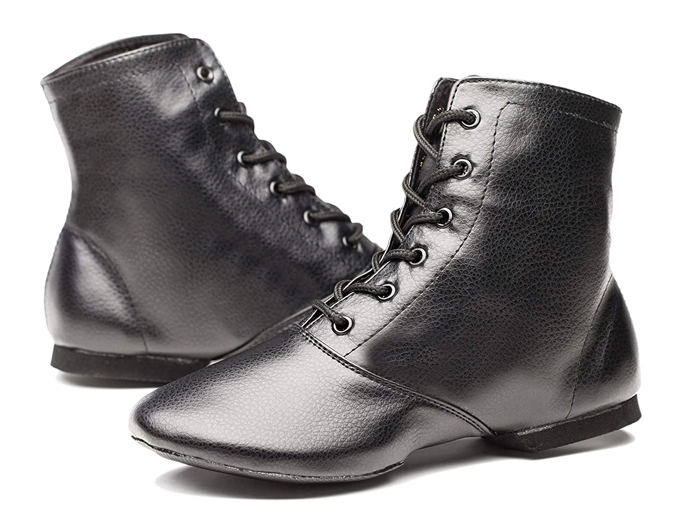 Joocare Women's Black Leather Split Sole Jazz Dance Boots Shoes(Adult/Unisex for Big Kid)