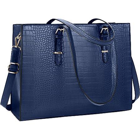 Lubardy Handtasche Damen Shopper Damen Groß Laptop Tasche 15.6 Zoll Elegant PU Leder Umhängetasche Arbeitstasche für Business Büro Schule Einkauf Arbeit Blau