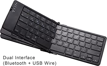 LEXKING Sirius-III Portable Folding Bluetooth Keyboard, Dual Interface and Ultra Slim Design Features, 1 USB to 4 Bluetooth Wireless Devices Connect, Built in Rechargeable Battery