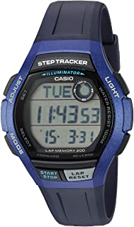 Men's Step Tracker Quartz Sport Watch with Resin Strap,...