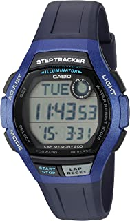 Men's Step Tracker Quartz Sport Watch with Resin Strap, Blue, 19.4 (Model: WS-2000H-2AVCF)
