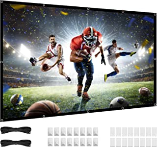 84 inch Projector Screen, 16:9 HD 4K Foldable No Crease Portable Video 80 Small Projection Movie Screen Grommets for Outdo...