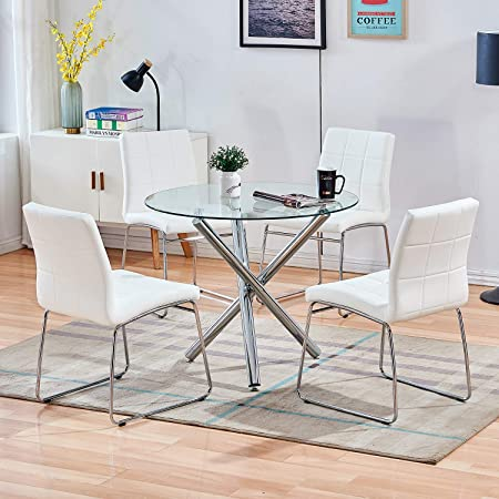 Amazon Com Stylifing Dining Table And Chairs Set Round Clear Glass Top Crisscrossing Chrome Metal Legs Kitchen Table And 4 Sled Based White Faux Leather Chairs Dining Set Home Kitchen Office Waiting