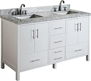 California 60-inch Double Bathroom Vanity (Carrara/White): Includes Modern White Cabinet with Soft Close Drawers, Italian Carrara Marble Countertop, and Double Rectangular Ceramic Sinks