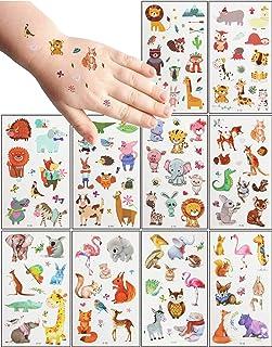 MEIXI 20 Feuilles Tatouage Ephemere Enfant,Thème Animal Respectueux de la Peau étanche Tatouage Enfant, Tatouage Temporair...