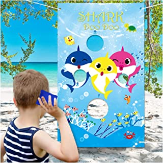 Shark Toss Games with 3 Been Bag Shark Baby Party Supplies Been Bag Toss Games Party Games for Kids and Adults in Under the Sea, Shark Theme party, Baby Shower, Kids' Birthday Party, Classroom Game, Summer Pool Party, Family Games