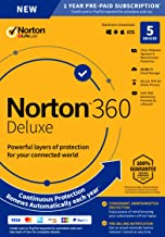 $48 » 2020 Newest Norton 360 Deluxe – Antivirus Software Key Card for 5 Device with Auto Renewal - Includes VPN, PC Cloud Backup and Dark Web Monitoring powered by LifeLock
