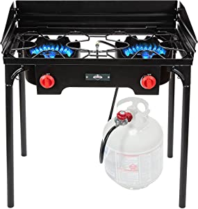 Hike Crew Cast Iron Double-Burner Outdoor Gas Stove | 150,000 BTU Portable Propane-Powered Cooktop with Removable Legs, Temperature Control Knobs, Wind Panels, Hose, Regulator & Storage Carry Case