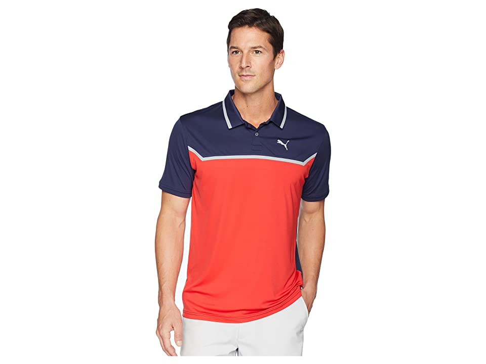 PUMA Golf Bonded Tech Polo (Peacoat/High Risk Red) Men