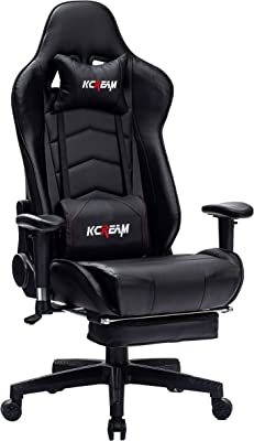 KCREAM Gaming Chair with Footrest Home Office Ergonomic Computer Chair with Massage Lumbar Pillow E-Sports Gamer Chair Reclining Gaming Chair (Black)
