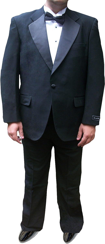 Broadway Tuxmakers Mens Tuxedo Suit, 100% Wool, Notch Collar Jacket & Pants Black