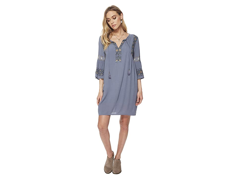 Lucky Brand Embroidered Bell Sleeve Dress (China Blue) Women