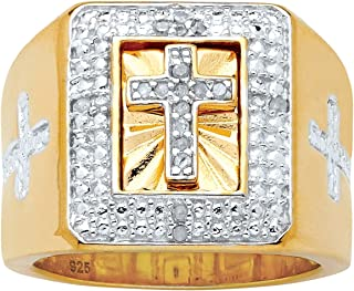 Men's 14K Yellow Gold over Sterling Silver Round Genuine Diamond Accent Cross Ring (1/10 cttw, I Color, I3 Clarity)