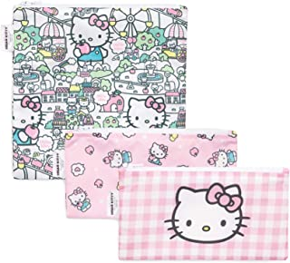 Bumkins Hello Kitty Sandwich Bags/Snack Bags, Reusable, Washable, Food Safe, BPA Free, Pack of 3