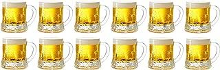 Circleware Roadhouse Mini Beer Mug Shot Glasses with Handles (Clear - Set of 12)
