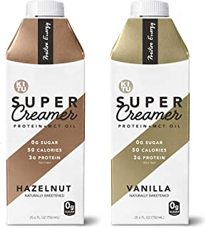 Kitu by Sunniva Super Creamer with Protein and MCT Oil, Keto Approved, 0g Sugar, 3 g Protein, 50 Calories, Vanilla and Hazelnut 2-Pack Variety