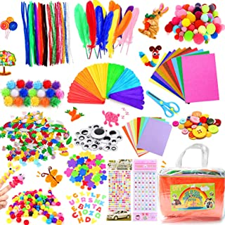 COTTONIX 1100+pcs Bricolage Enfant Pipe Cleaners Crafts Set, DIY Activites Manuelles pour Enfants Comprenant Cure Pipes, P...