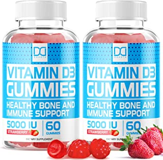 Vitamin D3 Gummies with Zinc Echinacea Supplements 5000 IU, Chewable Vitamin D for Adults Kids -...