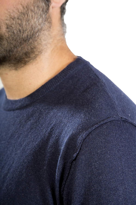 MY BASIC Maglione Uomo in Cotone-Cashmere Cuciture Esterne nel Giromanica