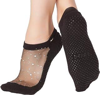 SHASHI, con purpurina de malla antideslizante ergonómico calcetines para Pilates Barre Ballet Yoga danza