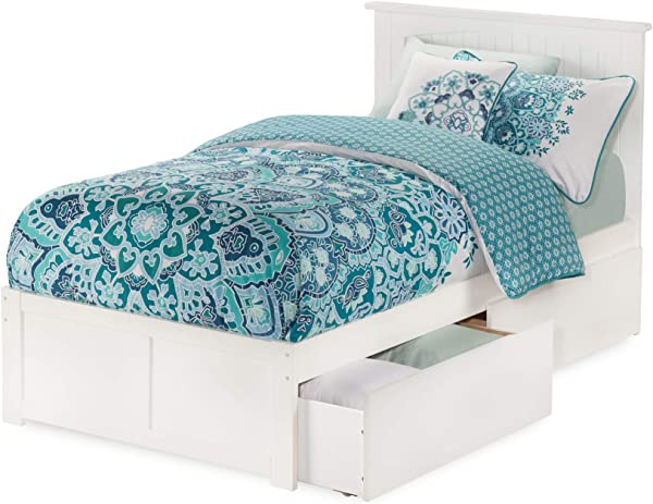Atlantic Furniture AR8212112 Nantucket Platform Bed With 2 Urban Bed Drawers Twin XL White