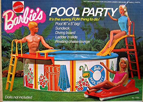 Barbie POOL PARTY Playset w Pool, Sundeck, Diving Board & MORE  (1973 Mattel Hawthorne)