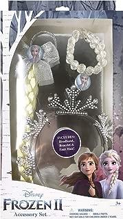 Frozen 2 Girls Hair Accessory Set with Headband, Elsa Faux Hair Braid and Bead Bracelet