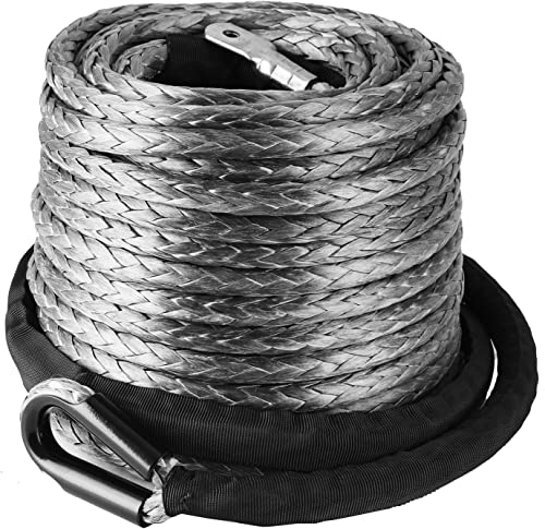 new arrival Mophorn lowest Synthetic Winch Rope 3/8'' x 95' Line Cable Heat Guard Sleeve 20500 LBS Protective Stainless Steel Thimble Sleeve for outlet sale SUV ATV UTV Truck Jeep sale