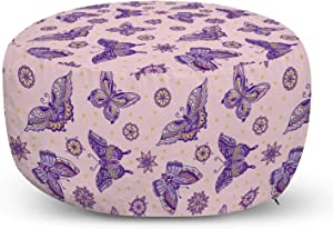 Lunarable Vintage Ottoman Pouf, Butterflies and Floral Motifs Old School Pattern Spring Time Style Illustration, Decorative Soft Foot Rest with Removable Cover Living Room and Bedroom, Multicolor