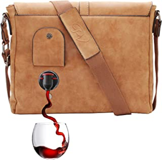 PortoVino Wine Messenger Bag (Camel) - Holds 2 bottles of Wine - Stylish with Hidden, Insulated Compartment - Discreetly Store & Pour 1.5L from Partypouch!