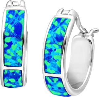 Created Blue Opal Inlay Mini Hoop Earrings in Sterling Silver