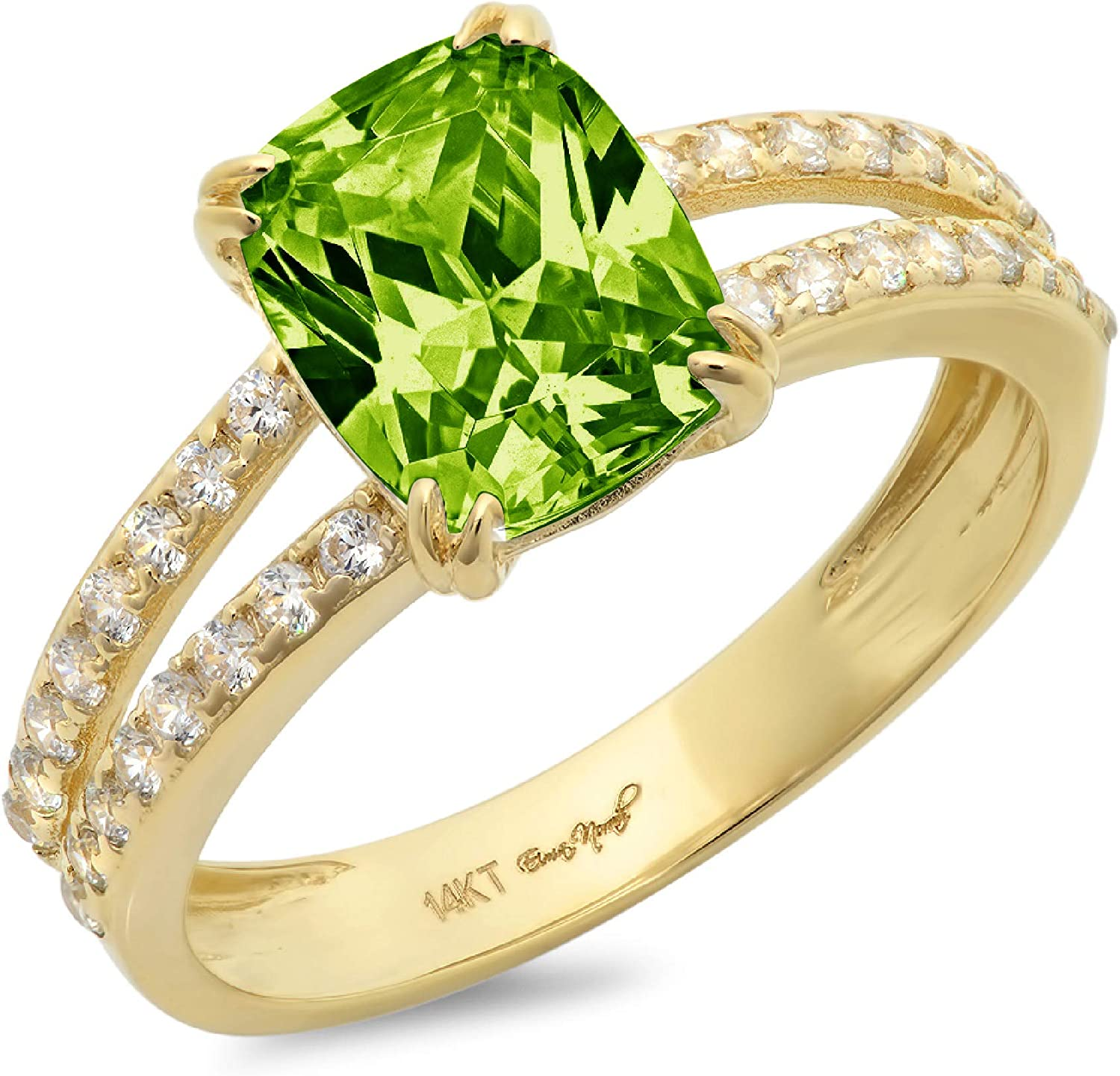 3.50 ct Brilliant Cushion Cut Solitaire with accent Designer Genuine Natural Green Peridot Gemstone Ideal VVS1 Engagement Promise Statement Anniversary Bridal Wedding Ring 14k Yellow Gold