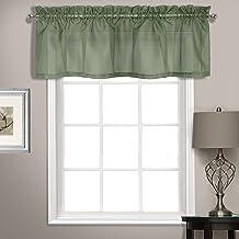 زوج من الستائر الشفافة المصنوعة من الفوال بتصميم قصير منسدل تقيس 56 × 14 بلون رمادي مخضر من يونايتد كورتين