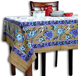 Cotton Floral Tablecloth for Rectangle Tables White Gold Blue Purple Floral Vine Table Cloth 70 x 106 Inch Table Cover for...