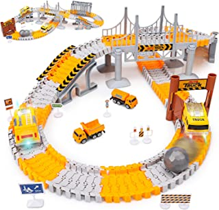 Engineering Tracks car for kids toys,161pcs Create A Engineering World Road Race,Flexible Track Playset and 2 pcs Cool Engineering Car for 3 4 5 6 7 Year & Up Old boy Girls Best Gift