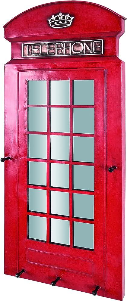 Haku möbel, appendiabiti in metallo laccato in rosso,con specchio integrato 89464