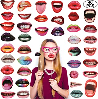 Morfong Party Photo Booth Props, Coxeer 40Pcs Funny Mouth Lips Photo Booth Prop with Stick Selfie Props Accessories for Birthday Wedding Graduation Party and Halloween & Christmas Party