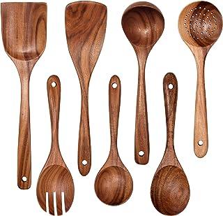 Wooden Non-Stick Kitchen Pan Toolset 7 Pieces Set,100% Natural Teak Kitchen Utensils Spatula, Wooden Cooking Utensils Spoo...