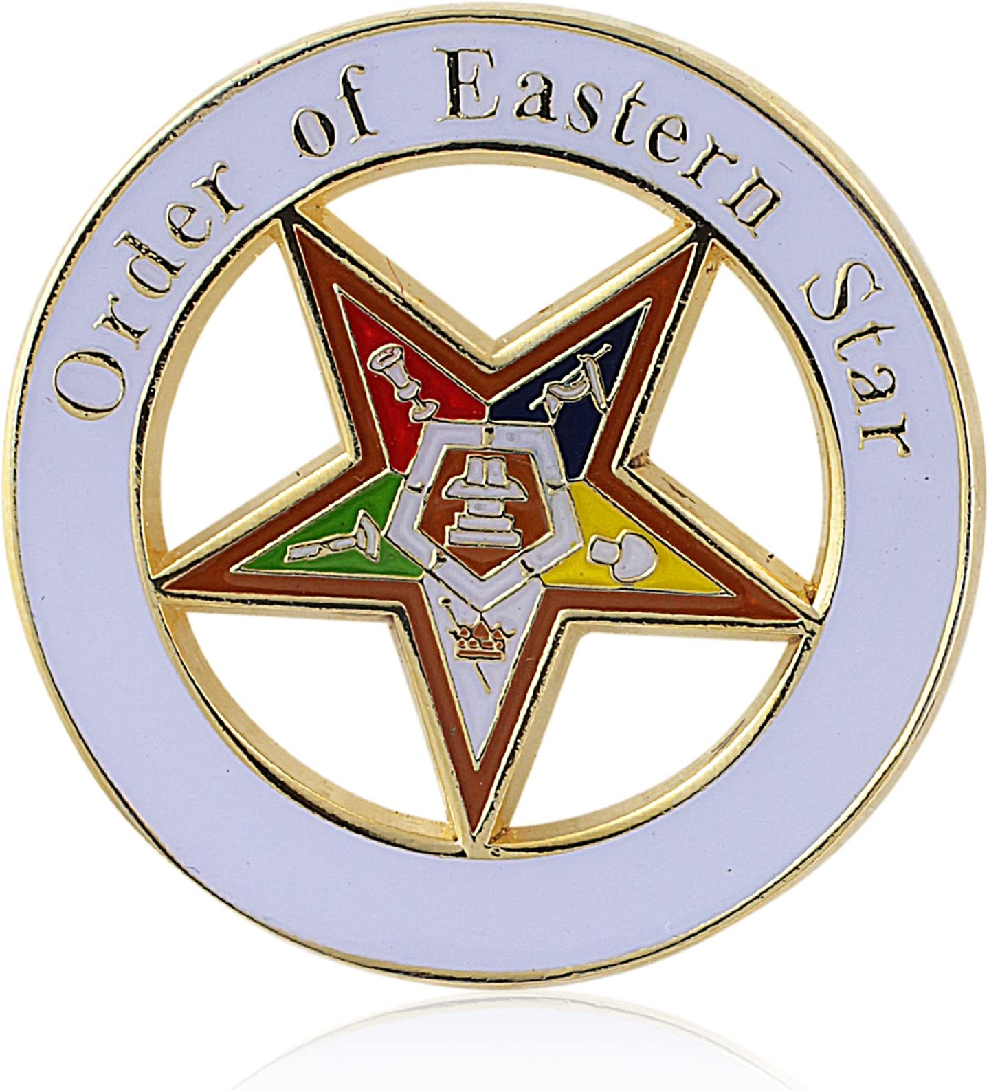 Order of The Eastern Star 3in Wooden Lapel Pin