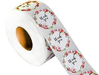 Floral Thank You Sticker Quantity 1000 on a roll. 1.5 inch Diameter Thank You Adhesive Label