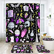 ArtSocket 4 Pcs Shower Curtain Set Magic Witch Witchcraft Esoteric Black Mystic with Non-Slip Rugs Toilet Lid Cover and Ba...