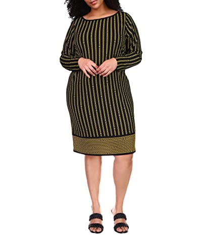 MICHAEL Michael Kors Plus Size Stripe Chain Long Sleeve Border Dress (Black Multi) Women