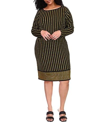 MICHAEL Michael Kors Plus Size Stripe Chain Long Sleeve Border Dress Women